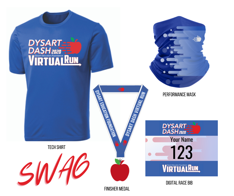 shirt, performance mask, finisher medal and digital race bib